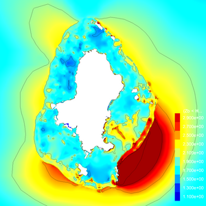 Wallis: Maximum wave elevation. Linear colorscale. 0.5 metres contour interval.