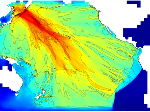 Maximum wave elevation. Log colorscale. Contours at 0.1,0.2,0.4,0.8,1.6,3.2... metres.