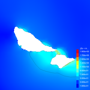 Futuna: Maximum wave elevation. Linear colorscale. 0.5 metres contour interval.